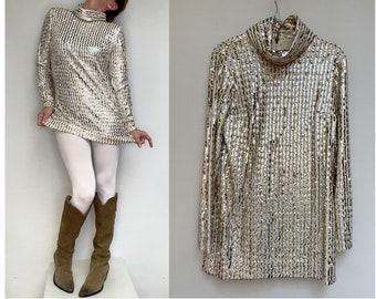 vintage 1960s SEQUINS Gold and silver GO GO  mini dress  Mod Tunic size eu 38-uk10-us6