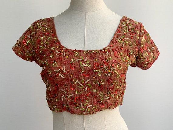 vintage india sequins beaded CROP TOP indian top 7