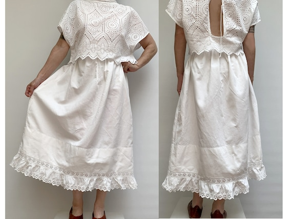 antique white cotton with lace ruffled SKIRT frenc