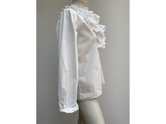 vintage white cotton lace jabot BLOUSE New romant… - image 8