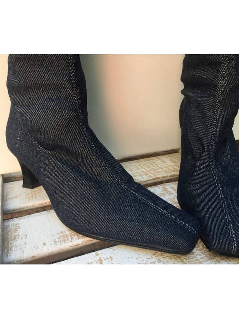 cf77422fcd852 1990s SOCKS Over The Knee Blue Denim square toes Slip Ons BOOTS // size eu  37- uk 4- us 5.5