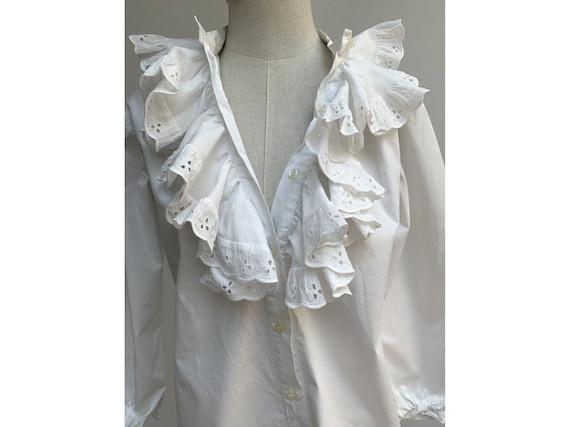 vintage white cotton lace jabot BLOUSE New romant… - image 6