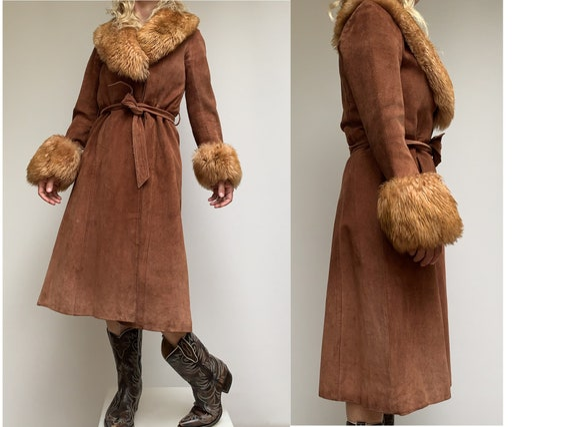 70s suede and collar fur COAT penny lane coat 70's