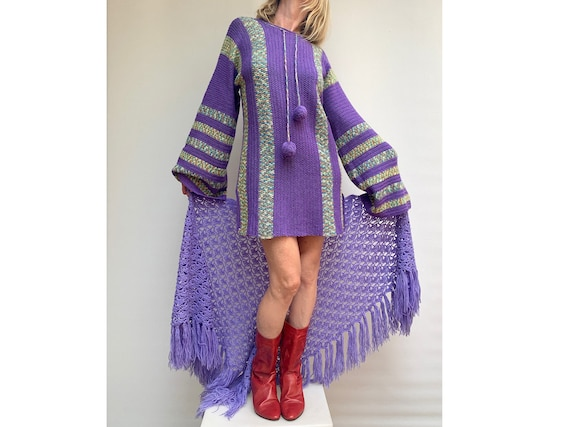 70s patchwork  knitted wool bell sleeves DRESS pur
