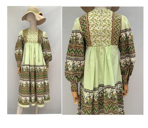 vintage  indian dress //peasant  DRESS // green fl