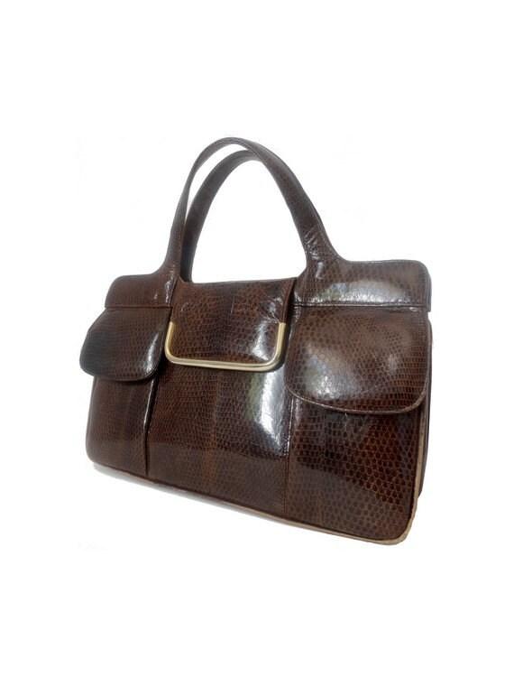 vintage 50S Handbag // faux croco leather Bag // B