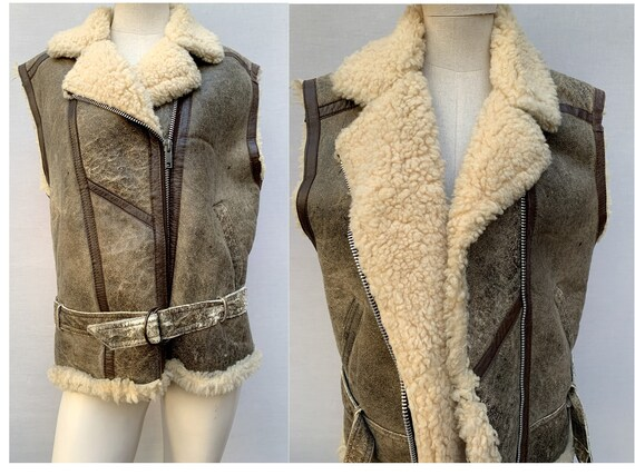 80s Shearling Aviator jacket / sleeveless shearlin