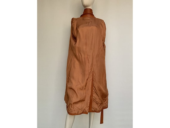 70s fox brown leather TRENCH COAT  Leather trench… - image 9