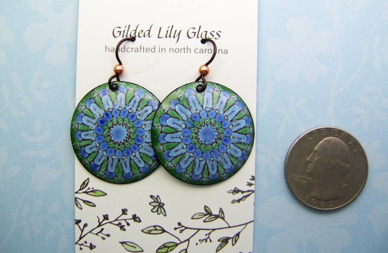 Blue Ferris Wheel Enamel Earrings Copper Enamel Jewelry Handmade in North Carolina