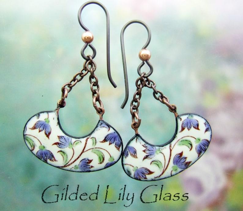 Flowering Vines Enamel Earrings Copper Enamel Jewelry image 0