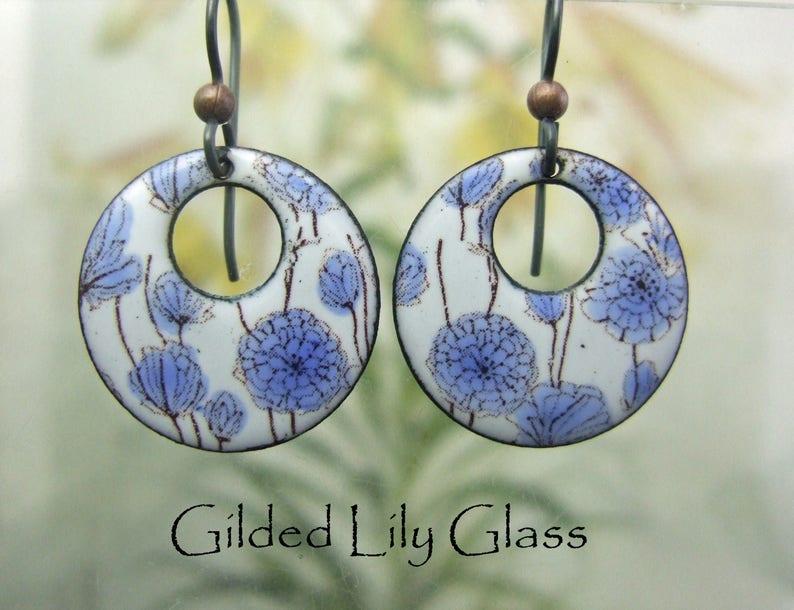 Delft Blue Floral Enamel Hoop Earrings Copper Enamel Jewelry image 0