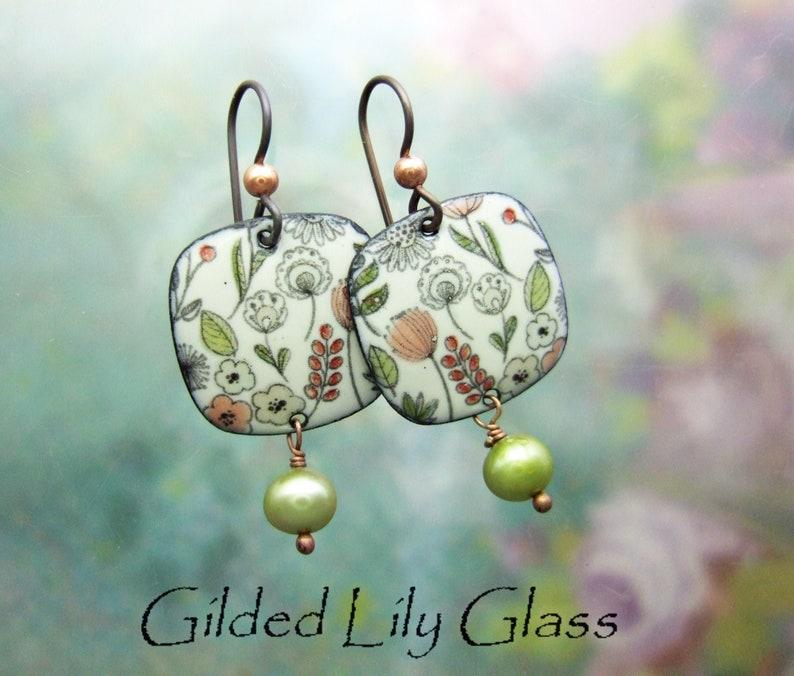 May Flowers Enamel Earrings Copper Enamel Jewelry handmade in Cream