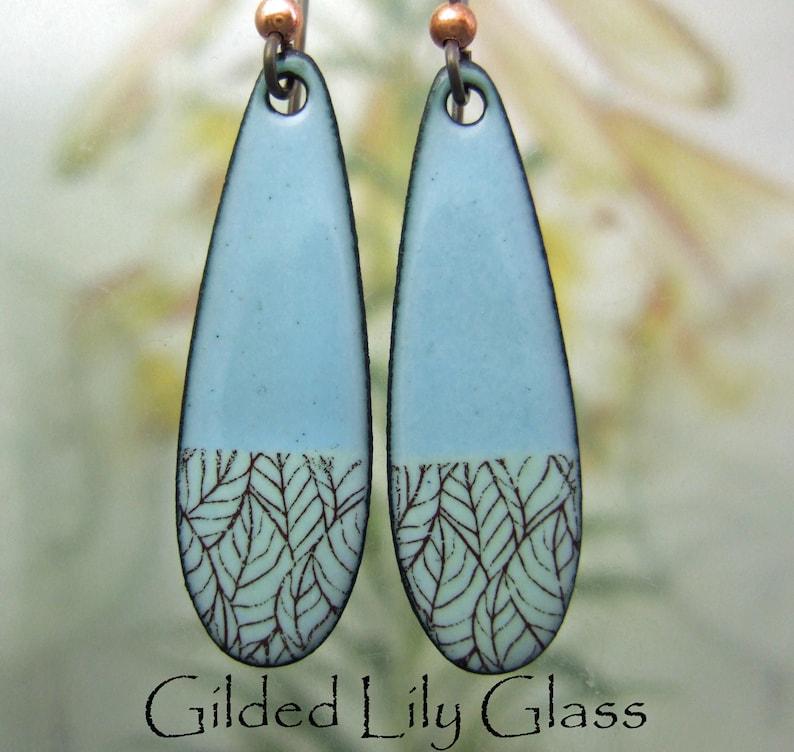 Aqua/Green Drop Enamel Earrings Copper Enamel Earrings image 0