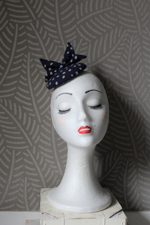 mini blue polka dots fascinator navy blue headpiece  4276af73ce82
