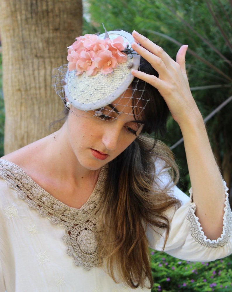 b238598f Flower Fascinator Hat nude hat nude fascinator nude | Etsy