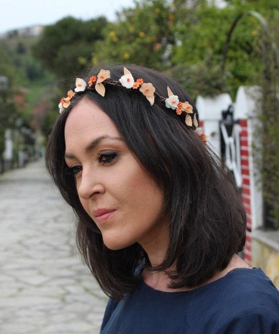 Orange Flower Crown Festival Crown Rustic Wedding crown  895b845d402