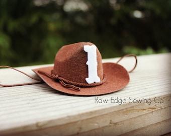 befce819455 Cowboy Birthday Hat Mini First Birthday Hat Country Western Hat Newborn Cowboy  Hat Cowgirl Mini Hat Felt Mini Hat Age Mini Woody Toy Story