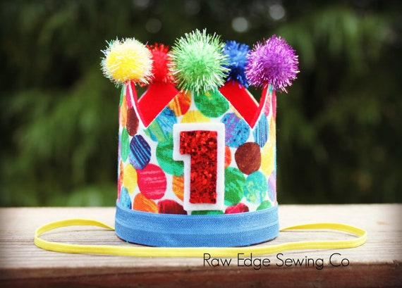 CIRCUS Birthday Crown Party Hat Cake Smash First One Brown Bear Hungry Caterpillar Elmo Sesame Street 1st Primary Colors Rainbow
