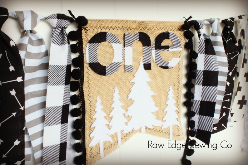 TREES Highchair Banner Birthday High Chair Lumberjack Wild One Modern First Winter Check Buffalo Plaid Hot Cocoa Trees Arrows Woodland