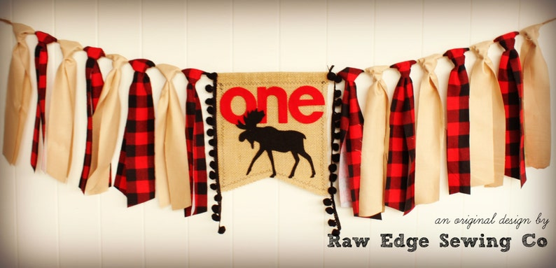 WOODLAND MOOSE Camping Cabin Fishing Hunting Elk Deer Duck Buffalo Plaid Birthday High Chair Highchair Banner First One Fabric Red Black