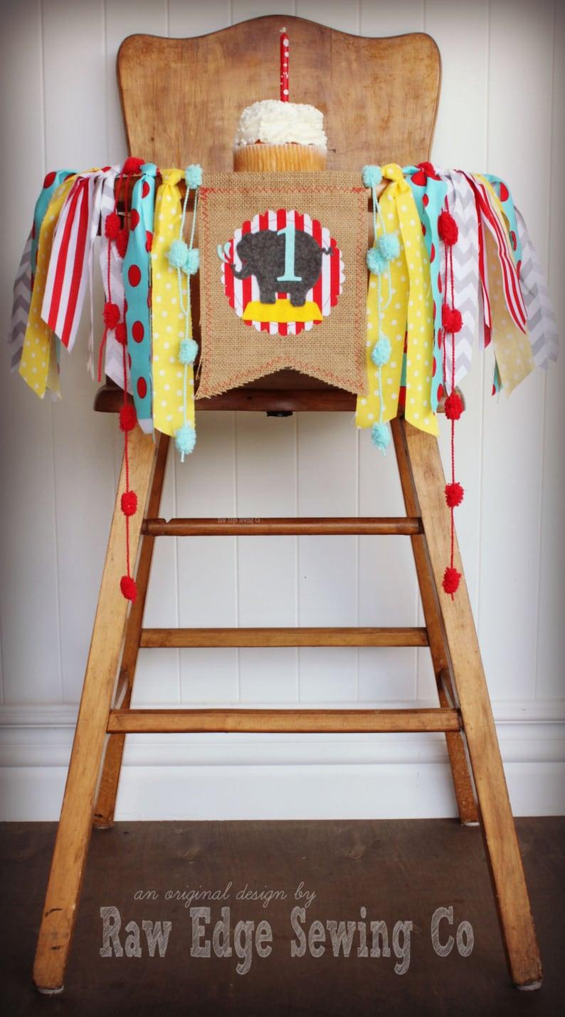 Circus Fabric Banner Highchair Photo Shoot Cake Smash