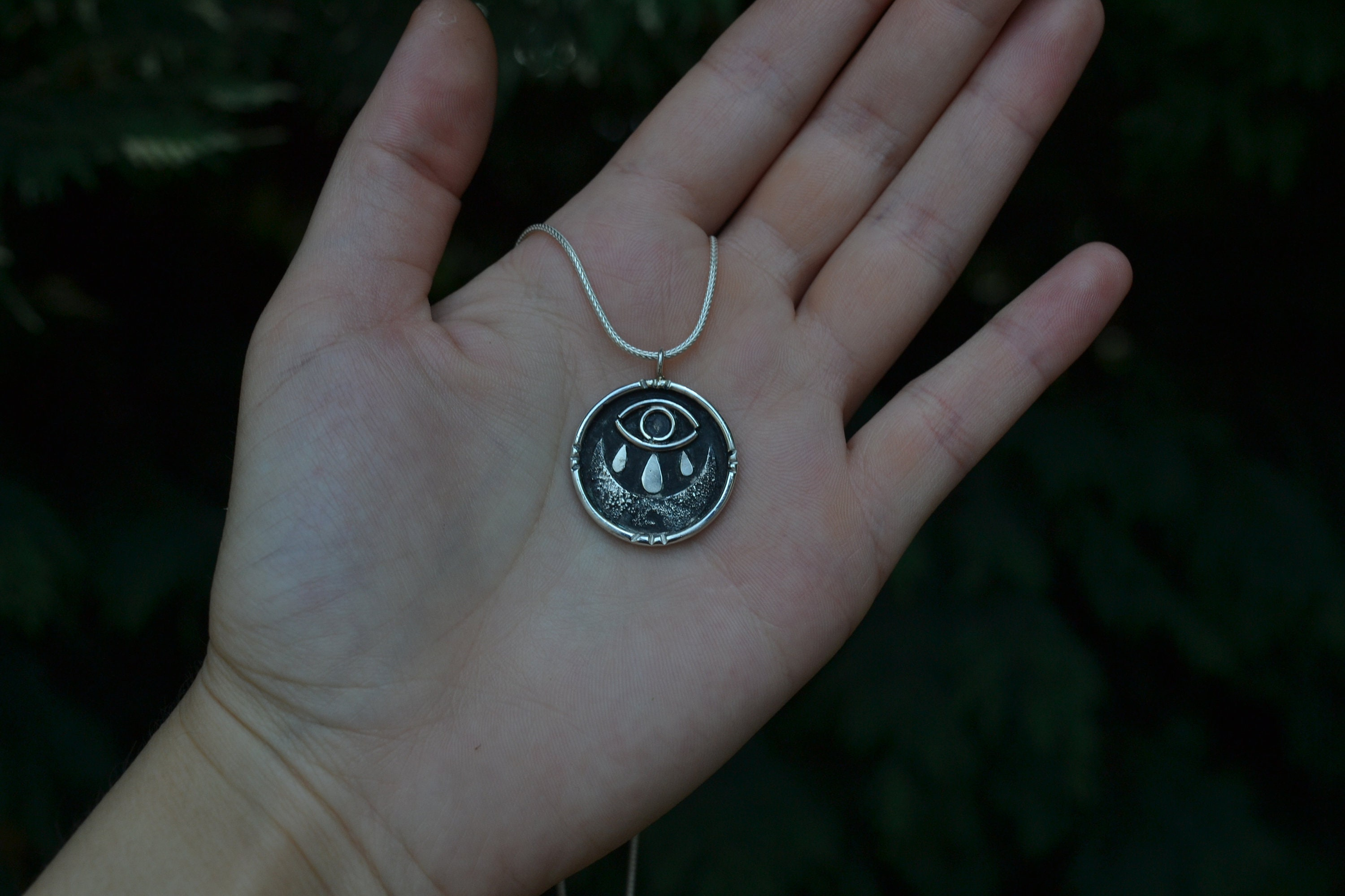 eye and crescent moon necklace crying eye traditional tattoo