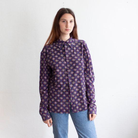 CONTRE par Gianni VERSACE Vintage 100 % soie violet chemise   Etsy ba144e8f086