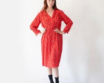 Vintage 70's Red Silk Dress / Fresh Summer Dress / 70's Dress / Red Dress with Flowers / Red Mum Dress M L
