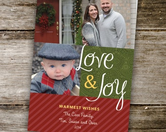 Love and Joy, Red and Green, Holiday Photo Card