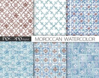 Marokkanische Digitalpapier Blau Senfgelb Fliesen Marokko Etsy - Mosaik fliesen marokko