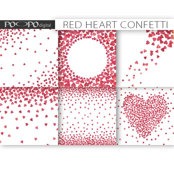 Heart Confetti Digital Paper Frames Border Card Design Making Etsy