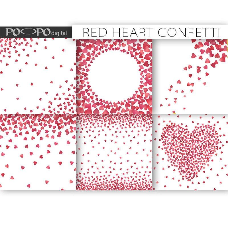 Heart Confetti Digital Paper Frames Border Card Design Making Etsy