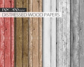 Distressed wood digital paper, rustic wooden texture, grey, red, brown wood grain, planks, digital wood texture, rustic wood papers,