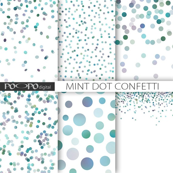 mint dot digital paper blue green baby shower dots mermaid party invitation  background wedding dot confetti polka dot random dots scrapbook
