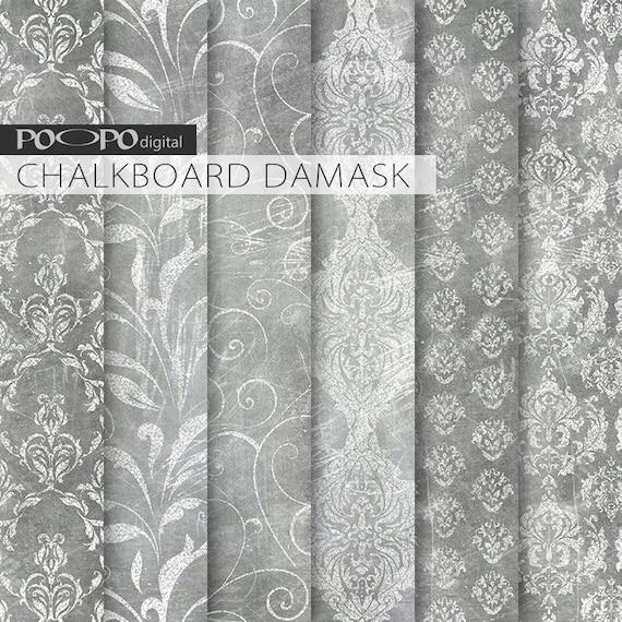 Chalkboard Digital Paper Grungy Damask Pattern Scrapbook Etsy