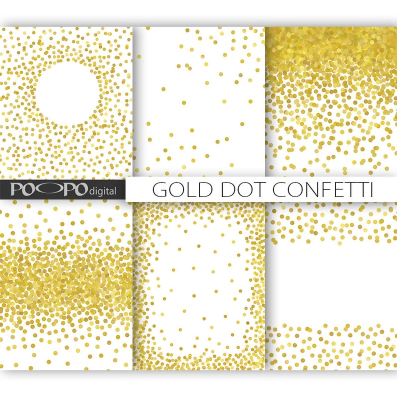 85 X 11 Gold Dot Confetti Digital Paper Invitation Template Overlay Png Format Scrapbooking Birthday Invites Party Supplies Card Decoration