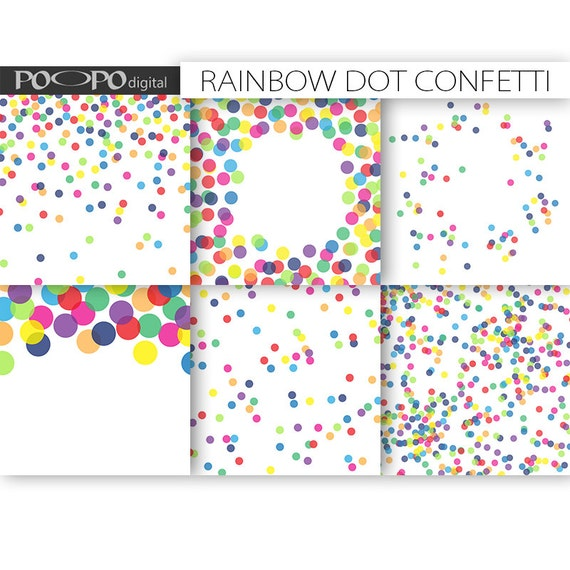 rainbow digital paper dot scrapbook multicolor baby shower etsy
