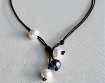 Large Pearls on Leather Necklace Freshwater Pearl Leather Necklace/Lariat Freshwater Pearls Floating Pearl Boho Bohemian For Her Yevga