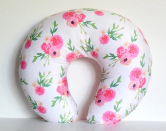 Boppy Nursing Pillow Cover - Watercolor Roses on Soft Pink, Peonies