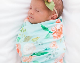 Organic cotton swaddle blanket in Secret Garden Floral on Mint, Coral, Peach, Blush and Cream Flowers