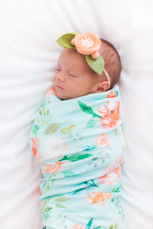 Organic Cotton Swaddle Blanket In Secret Garden Floral On Etsy