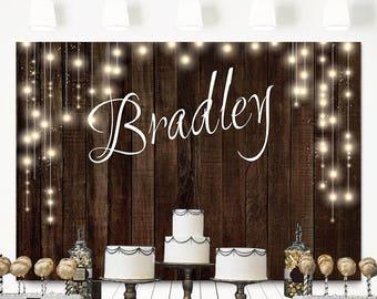 SALE Rustic Birthday Backdrop Custom Barn Tapestry Bridal Shower Wedding Wood Fairy Lights Baby