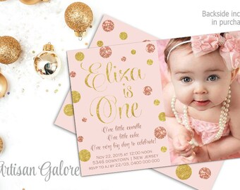 Polka Dots 1st Birthday Invitation Blush Pink Gold Glitter And First Girl PrintableAny Age
