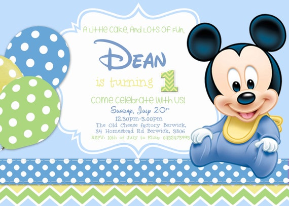 SALE Baby Mickey Birthday Invitation Boy Mouse Theme Card Printables
