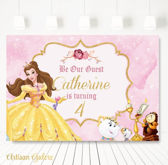 Beauty And The Beast Birthday Party Backdrop Princess Belle
