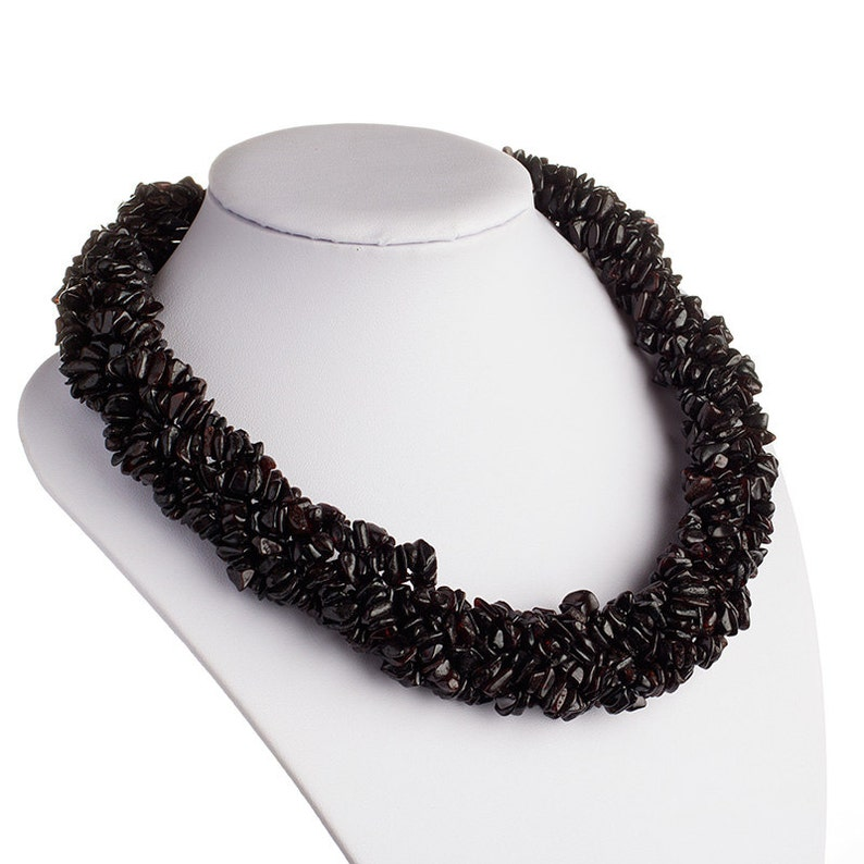 Real Baltic Amber Adult Necklace Multistrand Twisted Woven BlackCherry Color