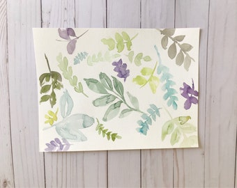 Original Watercolor Multi Colored Leaves