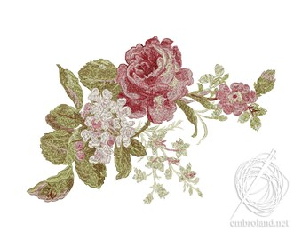 Roses Embroidery Design - Flowers Embroidery Design - Flowers embroidery pattern - Instant Download