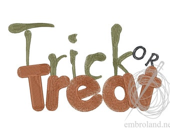 Trick or Treat Embroidery Design - Halloween Embroidery Sayings - Halloween Embroidery - Instant Download - Machine Embroidery files