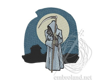 Halloween Embroidery Design Death with a scythe Moon Instant Download